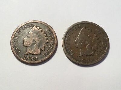 1890 & 1891 US Indian Head one cent coins.