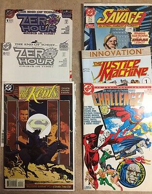 7 DC COMICS MIXED Lot Zero Hour, Doc Savage, Justice Machine, Stalkers, Kents