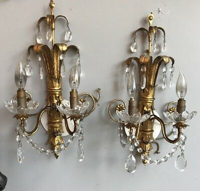 Pair Mid Century Modern Gilt Metal Leaf & Crystal French Wall Sconces Wired
