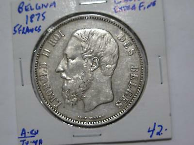 Belgium 1875 5 Francs Leopold Ii Silver Crown Size World Coin Collection Lot B