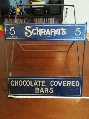 Schrafft's Candy Counter Display Tin Rack with Great Graphics 1930's Era