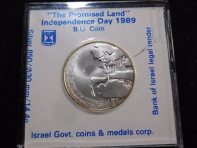 INV #Th75 Israel 1989 Silver Independence Day Sheqalim BU