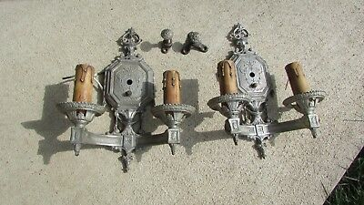 Two Vintage Art Deco Victorian Isco Two Light Wall Sconces Fixtures