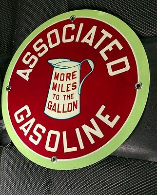 """Associated Gasoline gas oil sign ...~12"""" round"""