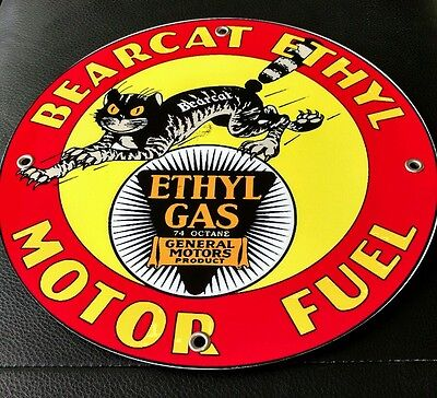 Bearcat Ethyl Gas Oil gasoline sign ...FREE ship on any 10 signs