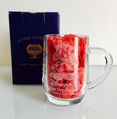 Disneyland Cast Exclusive Etched Glass Mug Mickey Firefighter Fire Department LE