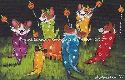 Welsh Pembroke CORGI Painting Dogs in costume Puppy Halloween Costume ART Gift