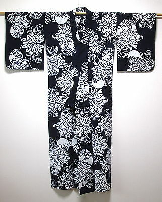 Japanese Ladies' Indigo/White 'Fans & Flowers' Cotton Yukata/Kimono/Robe Small