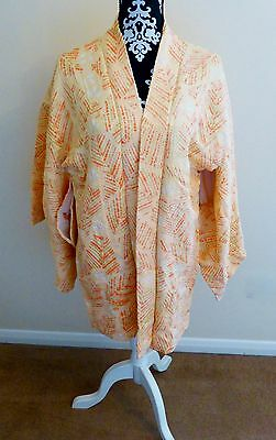 Vintage Japanese Peach/Orange/Green Full Shibori Silk Kimono Haori Jacket M/L