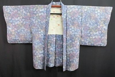 Vintage Japanese Ladies' Blue/Pastel Abstract Crepe Kimono Haori Jacket 10-14