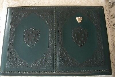 Vintage Made Italy Leather Desk Top 2 Flap Blotter Pad Paper Holder Green