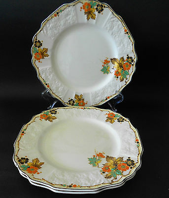 Set 3 X Art Deco Myott Frolic Pattern Entree/salad Plate Autumn Tones Black Rim