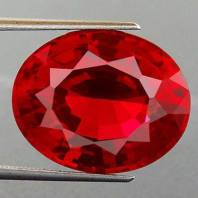 UNUSUAL 12x10mm OVAL-FACET HOT-RED RUBY GEMSTONE