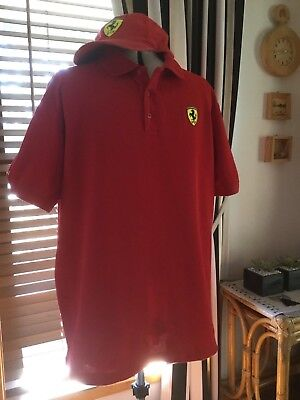 Men's Genuine Ferrari Polo Shirt & Cap, Size XL