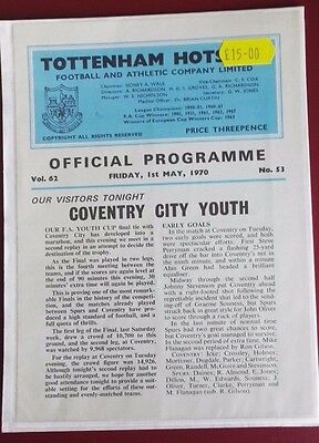 1969-70 TOTTENHAM HOTSPUR YOUTH CUP FINAL.2ND REPLAY. vs. COVENTRY   VGC NO. 53