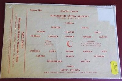 1958-59 MANCHESTER UNITED Reserves vs NOTTS CO No token, good condition for age