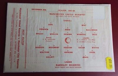 1957-58 MANCHESTER UNITED Reserves vs BARNSLEY No token, good condition for age
