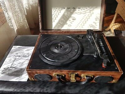 Bush Classic Retro Vintage Turntable Record Player with Suitcase Design - Brown