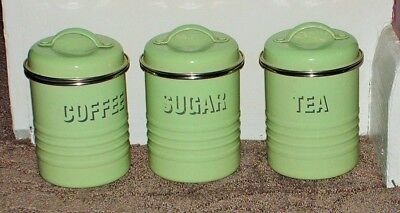SET 3 VINTAGE 1930s-STYLE ENAMELLED KITCHEN CANISTERS