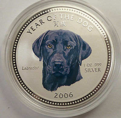 2006 Cambodia 3000 riels Year of the DOG LABRADOR 1oz silver