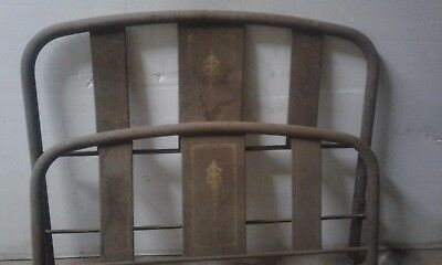 Vintage iron bed, single twin size, metal bed frame with springs, rust brown