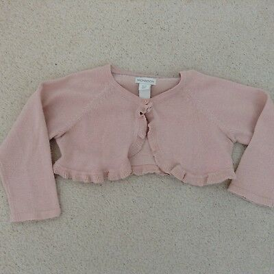 Baby Girls Pink Glitter Cardigan From Monsoon Size 12-18 Months Bolero Style