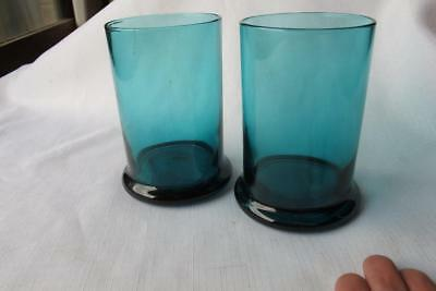 Pair of Victorian Turquoise Blue Green Glass Tumbler Vases w. Heavy Base