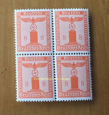 EBS Germany 1942 8 Pfennig Nazi Party Official Dienst BLOCK 4 Michel 160 MNH**