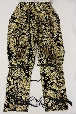 Japanese Black/Gold Glitter Roses Trousers Theatre Costume/Stage/Cosplay/Mikado?