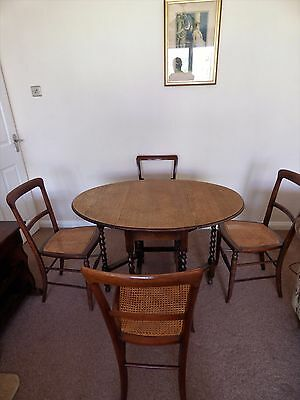 Oak Drop Leaf Table & 4 Chairs 1940's