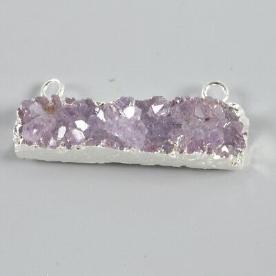 Rectangle Natural Amethyst Druzy Connector Silver Plated T045325