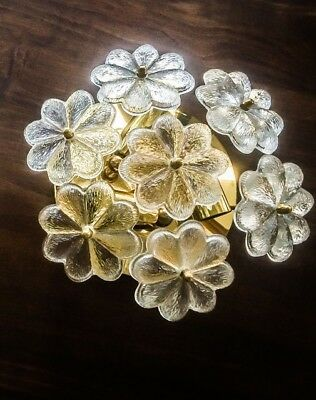 One Of Two Floral Flush Mount Ernst Palme (Palwa)7 Murano Glass Flowers Sconces