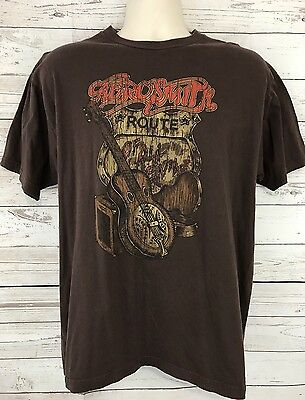 Aerosmith Route of All Evil Concert Tour T Shirt Brown 2006 Size XL