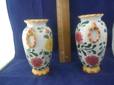 Pair of Vintage, Rustic, Made in Italy, Hand Painted Vases