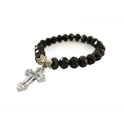 Black Crystal Glass Religious ROSARY Beads Bracelet With Crucifix