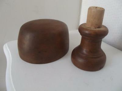 French milliners wooden hat block form mould & turned stand 55cm  21.1/2 ins