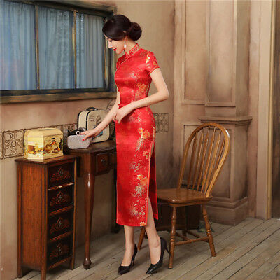 Hot Sale Red Satin Cheongsam Vintage High Quality Chinese Ladies' Qipao S-3XL