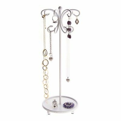 Necklace Holder Tree Stand Jewelry Organizer Hanging Bracelet Display - White