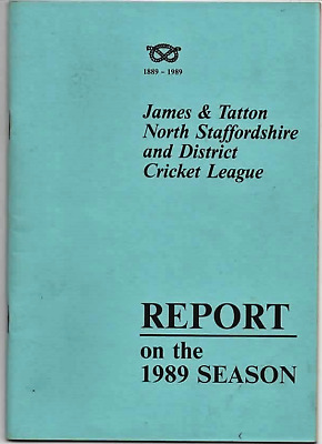 1989 Season Report-North Staffs-Staffordshire And District Cricket League