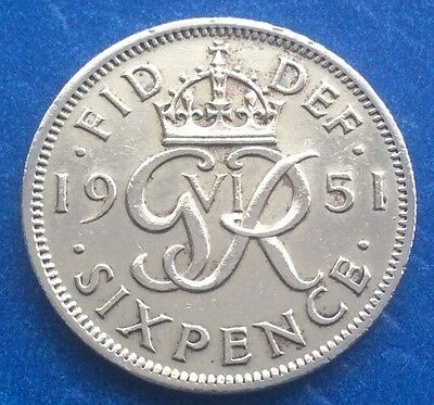 1951 King George Vi Sixpence Coin