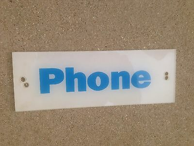 BELL SYSTEMS Telephone Booth Sign Pay Phone White & Blue  Vintage 9x3 80's