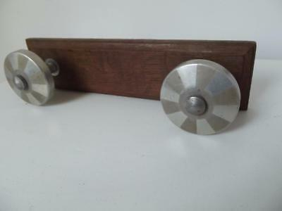 Vintage French Art Deco  aluminum & oak industrial streamline coat rack hooks