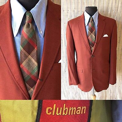 🍁Men's 42R Vintage Sport Coat 3/2 Roll Hopsack Jacket Autumn Rust Trad 1960's🍁