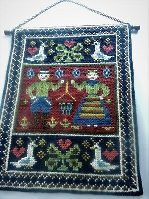 Swedish vintage hand embroidered tapestry picture, couple in national costume