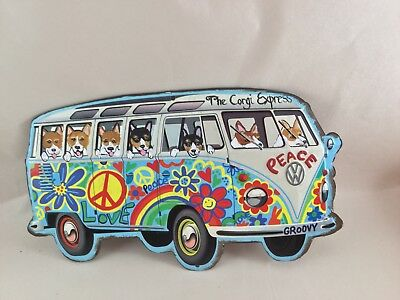 """Tin sign Hippie Bus filled with hand painted Welsh Corgis! """" The Corgi Express"""""""