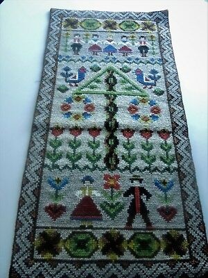 Swedish vintage handembroidered wallhanging tapestry, dancers around maypole