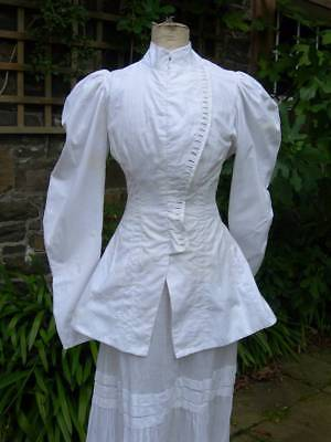 Antique French Ladies Edwardian 1906 Cossack buttoned jacket & muslin skirt
