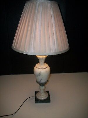 Vintage Carved Italian Alabaster Marble Table Lamp