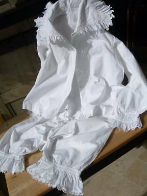 Beautiful crisp white cotton antique French 1890s blouse and bloomers
