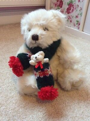 Lovely White Fluffy Harrods Winter Bear With Small Baby Bear